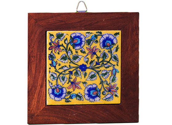 Floral square blue pottery wall hanging
