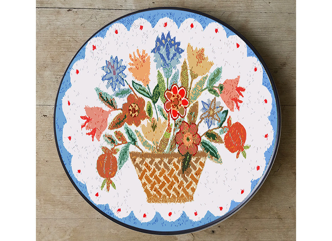 Flower pot design colorful wall plate