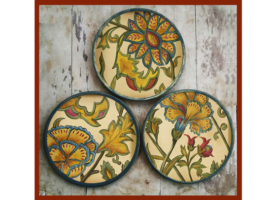 French countryside floral wall plates