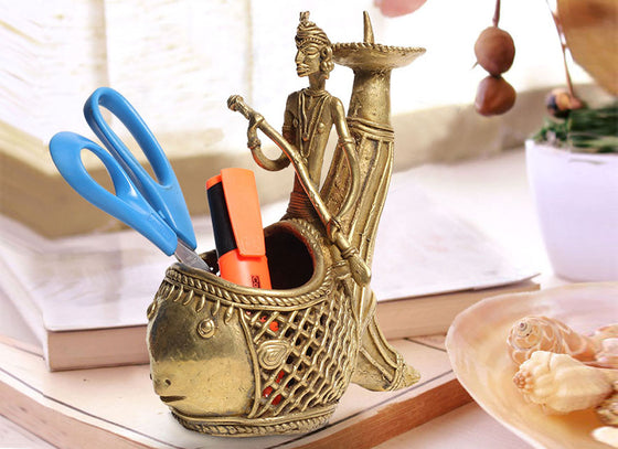 Exotic Dhokra Golden Fish Pen Stand
