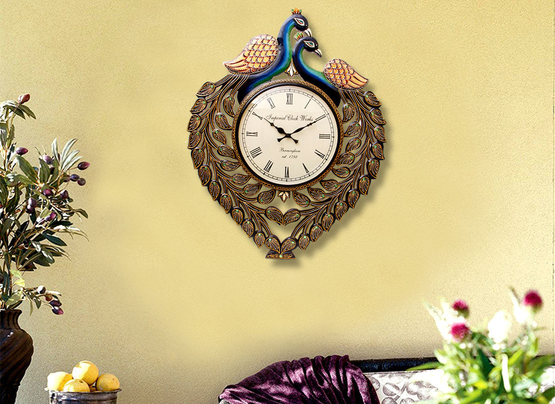 antique peacock wall clock online india - Designer Wall Clocks Online