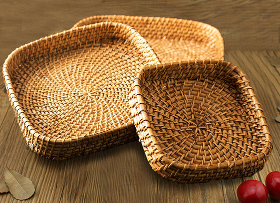 Square Shape Decorative Bamboo Tray
