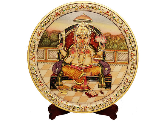 Ganesha Decor Marble Art Plate