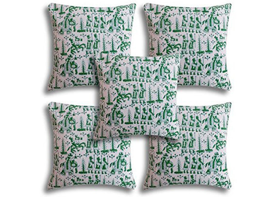 Green color Phad print cushion covers