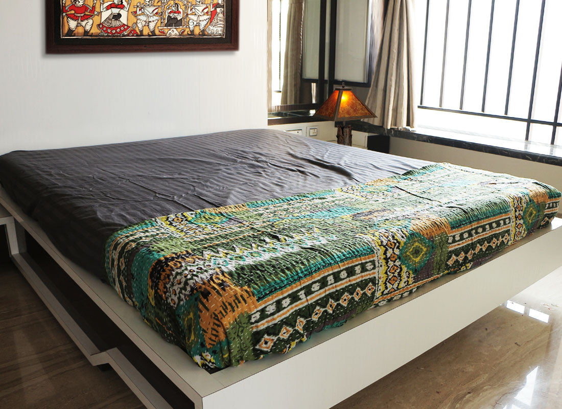 Green ethnic handcrafted Kantha work bed sheet