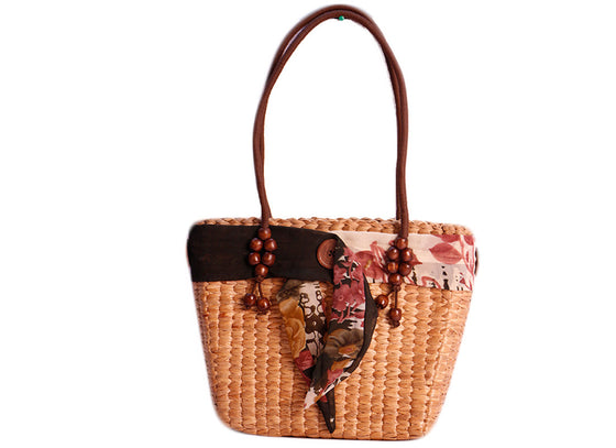 Floral Brown Belt Cane Handbag
