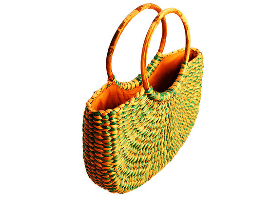 Green handcrafted bamboo purse