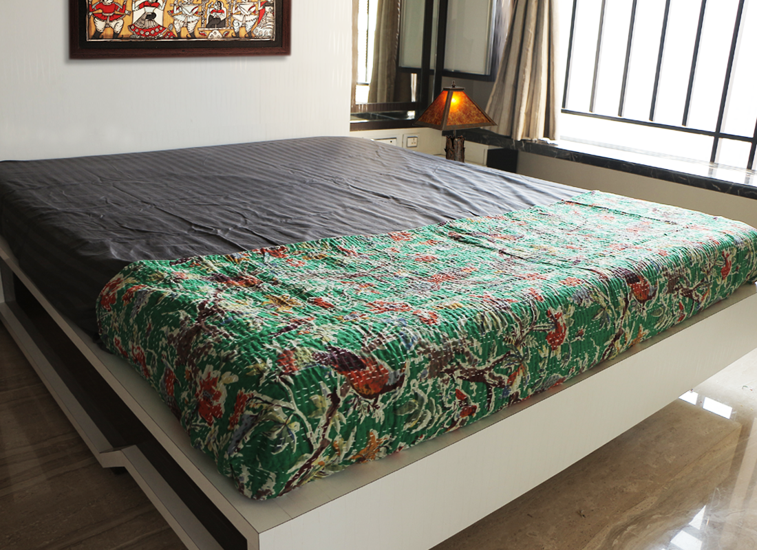 Green handcrafted kantha bird designer bed sheet