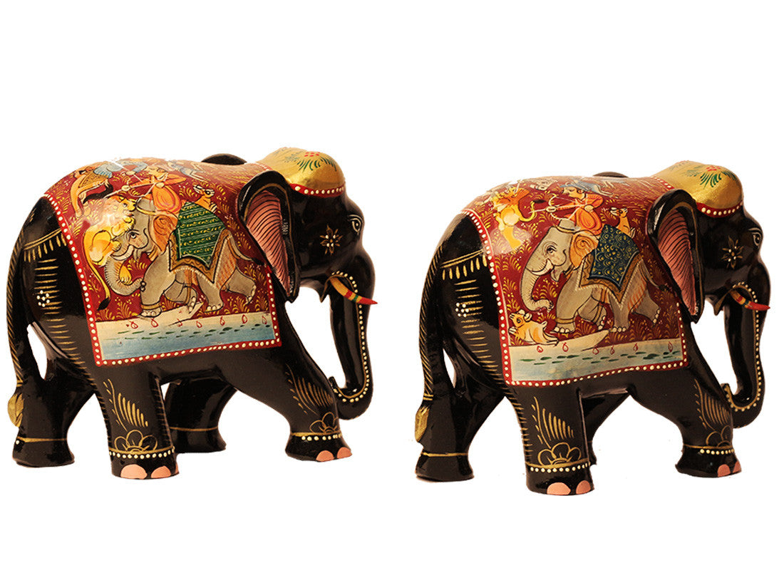 Hand-painted Black Marble Elephant