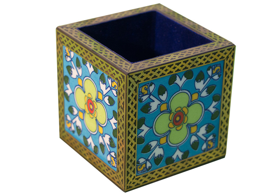 Hand-painted blue pottery pen stand