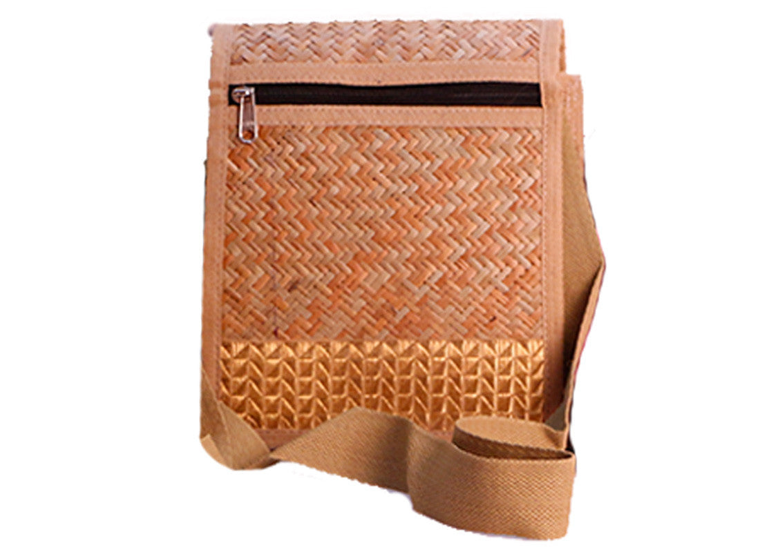 Hand-woven cane travel sling bag
