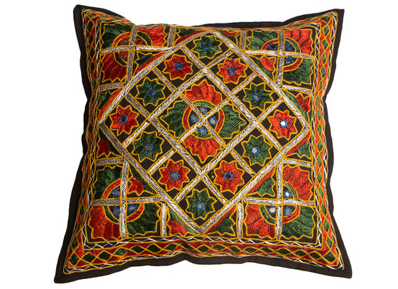 Hand embroidered colorful cushion