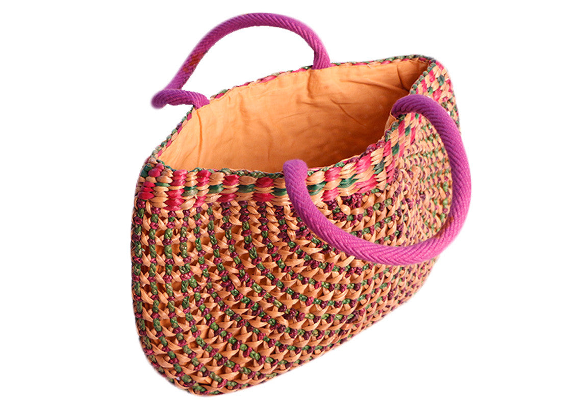 Handcrafted multicolor bamboo purse