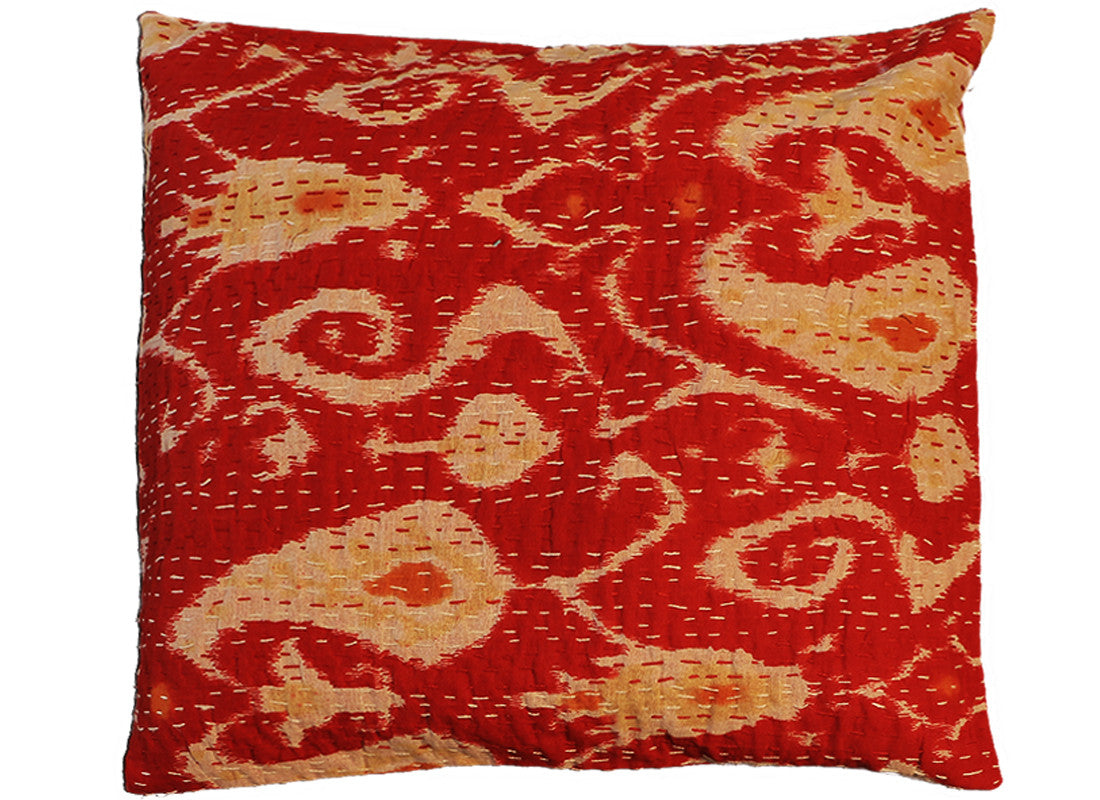 Handcrafted red kantha work cushion covers