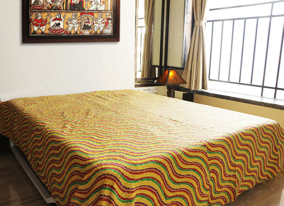 Handcrafted yellow Kantha bed sheet