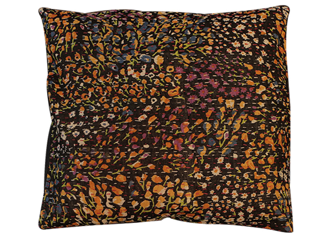 Handcrafted yellow print cushion cover