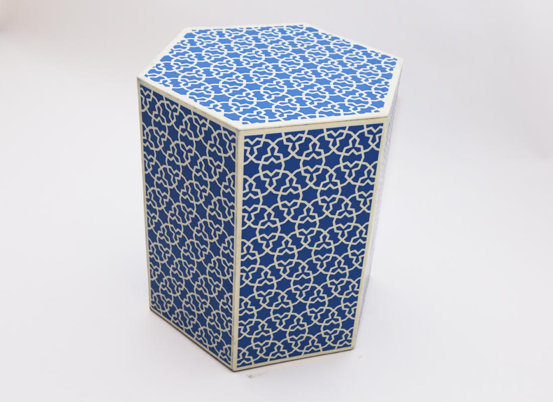 Hexagon Stool  Arabesque Pattern