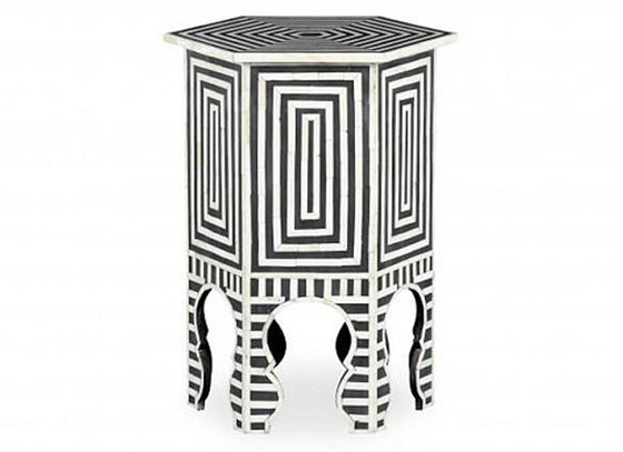 Moraccan Stool With Stripe Pattern