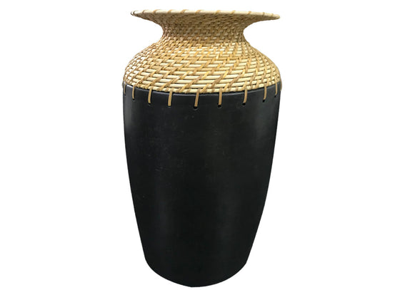 Dark black neck cane Designed vase