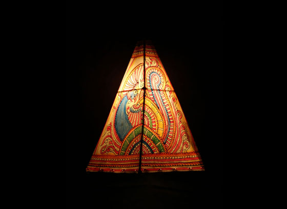 Multi-color Peacock Pyramid Hanging Leather Lampshade