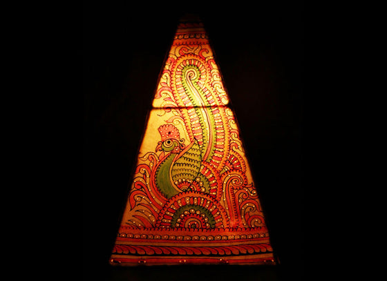 Peacock Handpainted Pyramid Hanging Leather Lampshade
