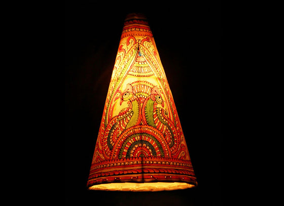 Beautiful conical handpainted leather lampshade