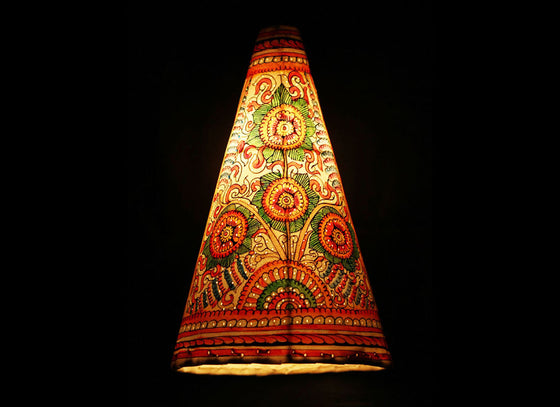 Conical leather craft handpainted lampshade
