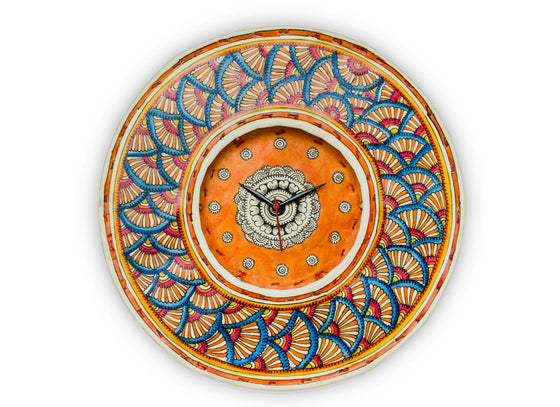 orange and blue patterned handpainted leather clock
