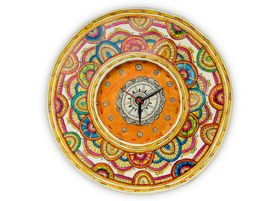 multicolor handpainted leather clock in pastel