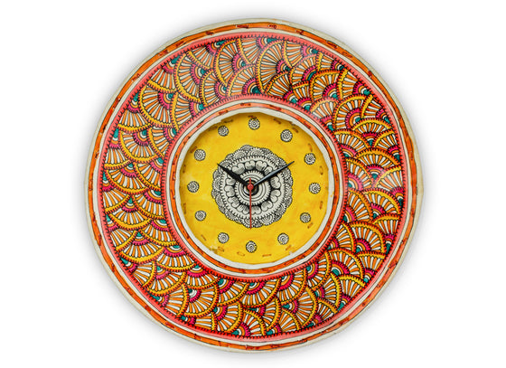 Patterned Handpainted Leather Clock in shades of Reds and Yellows
