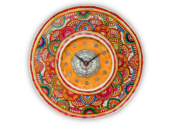 handpainted leather wall clock in bright colors