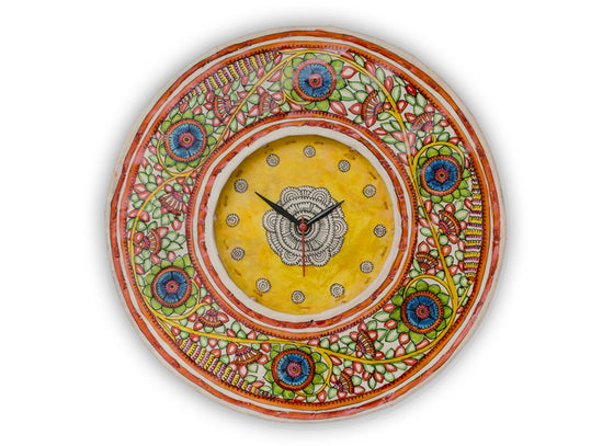 Floral green handpainted clock with yellow dial