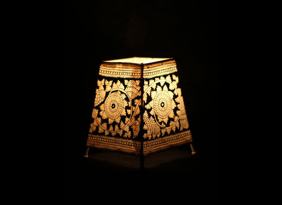 Black Monochrome Handpainted Leather Tabletop Lampshade