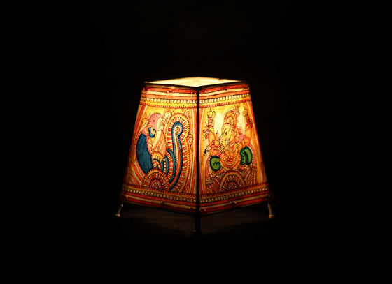 Mutilcolor Ganesha and Peacock Handpainted Leather Tabletop Lampshade