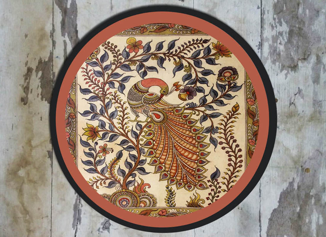 Ethnic Kalamkari Peacock Ceramic Wall Plate