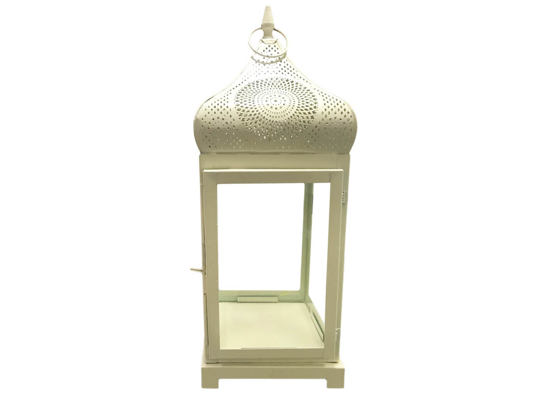 White Carved Metal Lamp