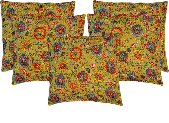 Kantha flower print embroidery cushion covers