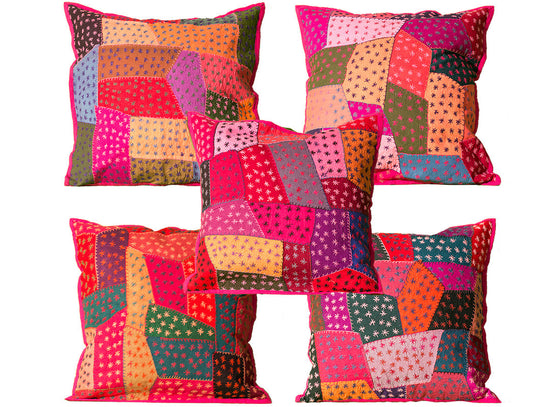 Kantha patch work cushion covers