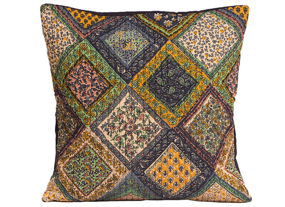 Multi print Kantha work cushion cover