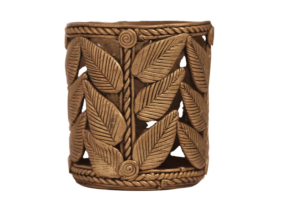 Carved Leaf Design Dhokra Art Pen Holder