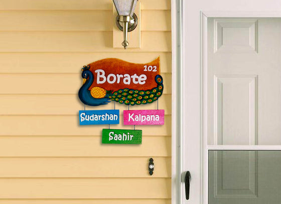 Multicolor Peacock Shape Name Plate