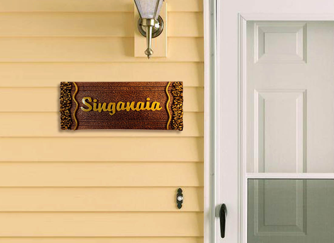Elegant Golden Carved Metal Name Plate