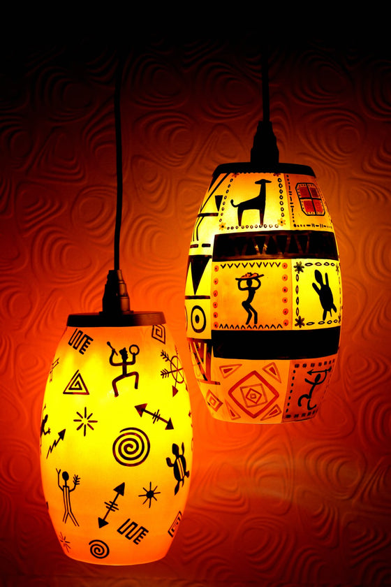 Afro Tribal Art Wall Hanging Lamp Set