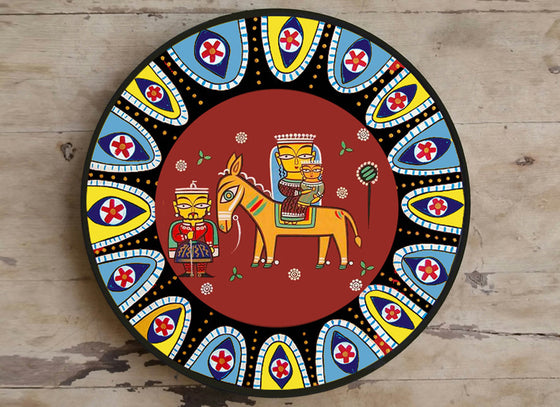 Arabic Theme Madhubani Art Ceramic Wall Plate