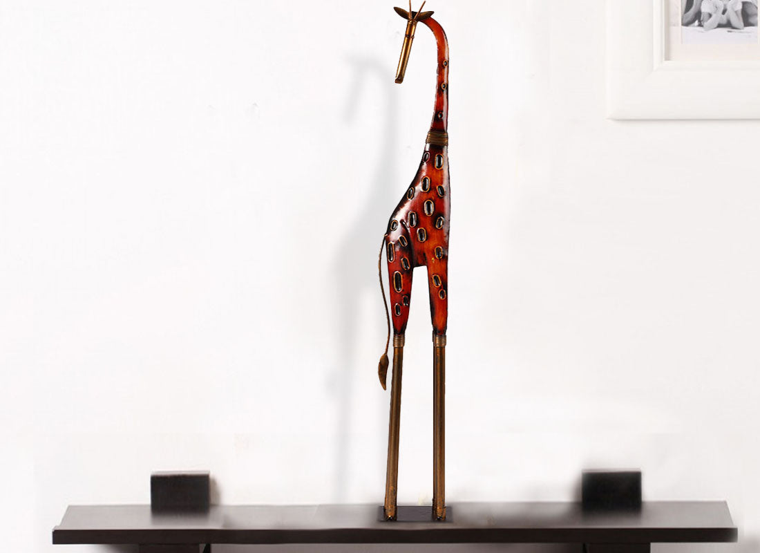 Big Metal Giraffe Animal Figurine