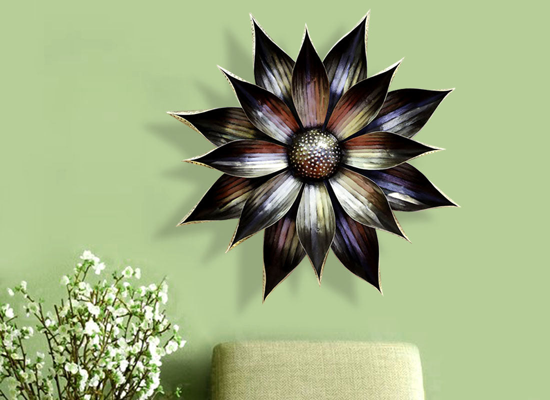 Rusted Edgy Flower Design Wall Decor
