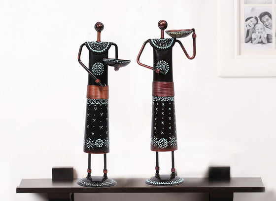Blue Metal Doll Showpiece Set Of 2