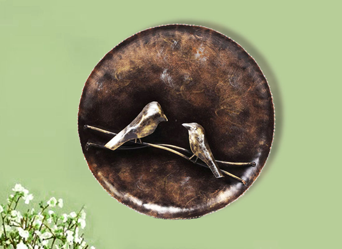 Metallic Round Bird Wall Decor