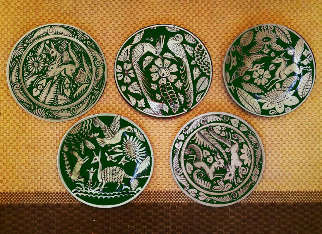 Mexican Art Green Ceramic Wall Decor  Plate Set of 5