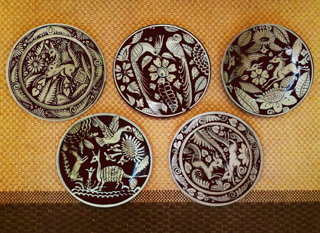 Decorative Wall Plates Set buy mexican art red ceramic wall décor plate set of 5 | craftedindia